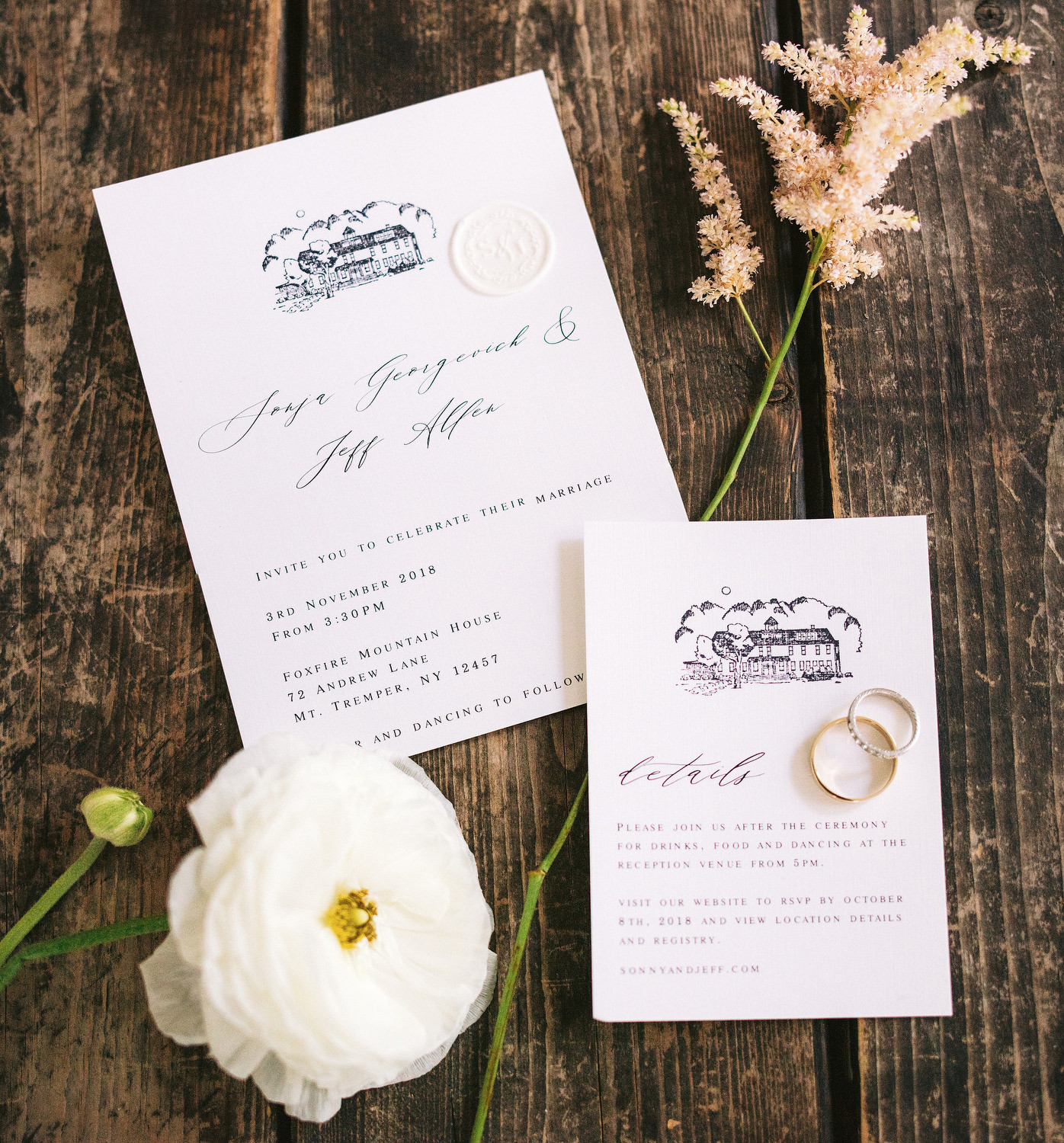 Elegant wedding invitations created by the bride, using Paper Presentation as a printer. Displayed with florals from the wedding day and the couple's rings. Editorial Wedding at Firefox Mountain House in Upstate New York.